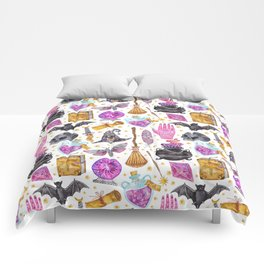 Pink gold black watercolor hand painted halloween pattern Comforters