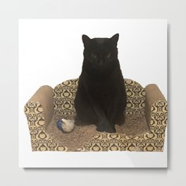 The Queen on her Couch, Edie the Manx, Black Cat Photograph Metal Print