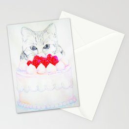 My sweet cat and my cake. Stationery Cards