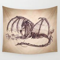 mythology Wall Tapestries featuring Material Girl ~ Dragon by River Dragon Art