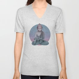 Buddha with cat2 Unisex V-Neck