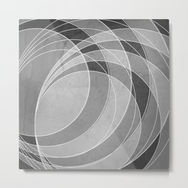 Orbiting Circle Design in Charcoal Grey Metal Print