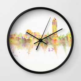 Colorful Stanford California Skyline - University Wall Clock