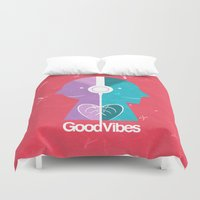 good vibes Duvet Covers featuring Good Vibes by Lorenzo Sabbatini