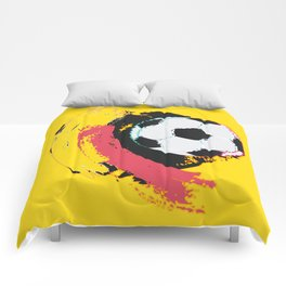Football ball and red, yellow strokes Comforters