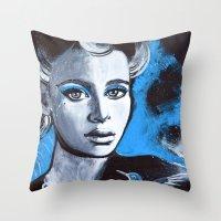 jenna kutcher Throw Pillows featuring Jenna by McLean - Art & Design