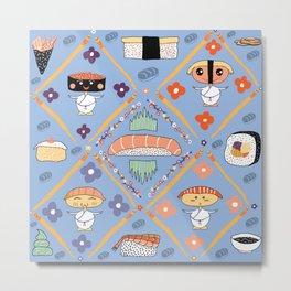 Japanese Kawaii Sushi Nodders Bobbleheads Metal Print