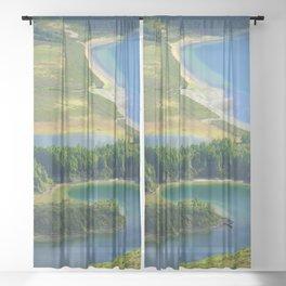 Colorful lake Sheer Curtain