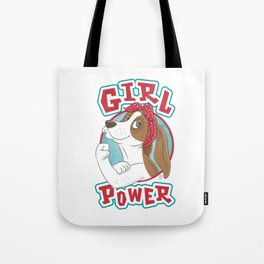 Basset Hound Girl Power Tote Bag