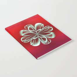 Cyan Bloom on Red Notebook