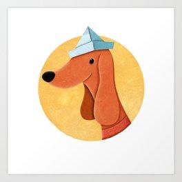 Dog With Newspaper Hat | Illustration Art Print
