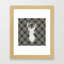 Stag, Deer,Country Decor, Rustic, Plaid, Brown and Beige Framed Art Print