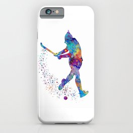 Girl Field Hockey Watercolor Print Field Hockey Gift Sports Poster Home Decor Girl's Room Decor iPhone Case