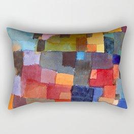 """Paul Klee """"Raumarchitekturen - Auf Kalt-Warm)(Room architectures - On cold-warm))"""" Rectangular Pillow"""