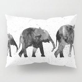 Elephants 2, black and white Pillow Sham