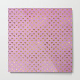 Gold Hearts Passion Pink Metal Print