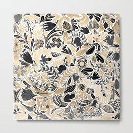 Gold Black Floral Leaves Illustration Pattern Metal Print