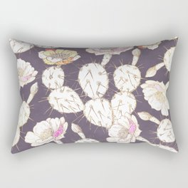 Modern white gold mauve lavender catus floral Rectangular Pillow