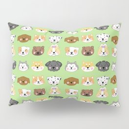 Nine Cute Dogs in Green Pillow Sham