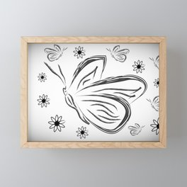 butterflies and flowers. Black and white silhouette sketch butterflies and flowers Framed Mini Art Print