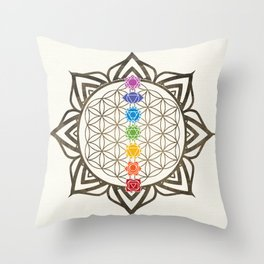 Flower of Life Chakra Healing Mandala Throw Pillow