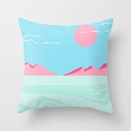 Current - memphis throwback retro colorful tropical abstract sunset sunrise west coast socal Throw Pillow