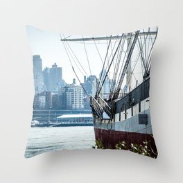 Boat of New York Throw Pillow