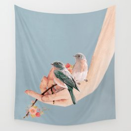 Birds on Hand Wall Tapestry