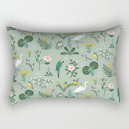 """Tropical Birds and Flowers"" on Sage Green by Bex Morley Rectangular Pillow"