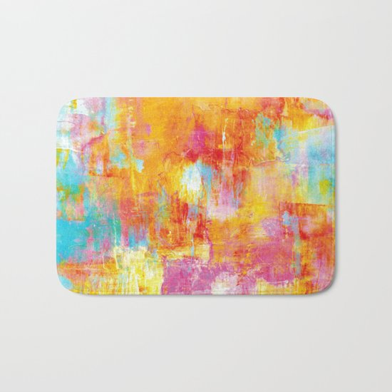 OFF THE GRID Colorful Pastel Neon Abstract Watercolor Acrylic Textural Art Painting Nature Rainbow  Bath Mat