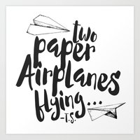 airplanes Art Prints featuring Paper Airplanes by Renata Bernardes