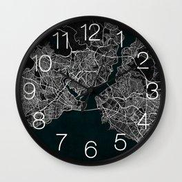 Istanbul City Map of Turkey in Dark Grunge Wall Clock