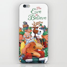 Santa checking his list with elves iPhone Skin