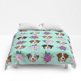 Australian Shepherd dog breed dog faces cute floral dog pattern Comforters