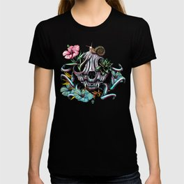 The Skull the Flowers and the Snail CoLoR T-shirt