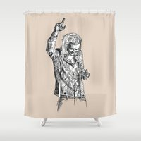 harry styles Shower Curtains featuring Harry Styles by Cécile Pellerin