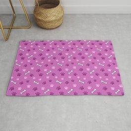 Pink Dog Paw Prints and Dog Bones Rug