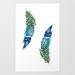 green and blue tribal feather Art Print