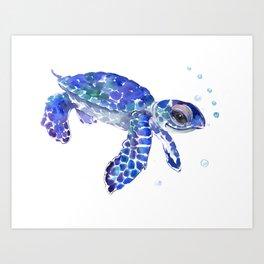 Cute Blue Baby Sea Turtle. children illustration, turtle art Art Print