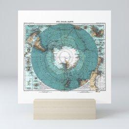 Antarctica Vintage map Mini Art Print