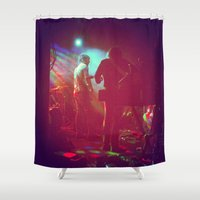 rock n roll Shower Curtains featuring Rock 'n' Roll by Wolf Feather
