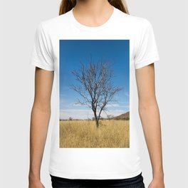 Lone dry tree in serene scene with blue sky T-shirt
