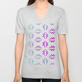 Pink teal abstract watercolor geometric pattern Unisex V-Neck