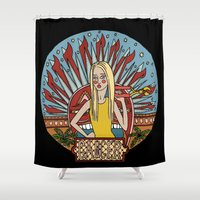 cancer Shower Curtains featuring Cancer by Iria Prol