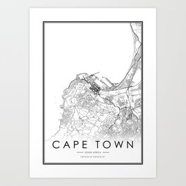 Cape Town City Map South Africa White and Black Art Print