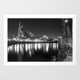 Music City Skyline in Black and White - Nashville Tennessee Art Print