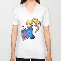metroid V-neck T-shirts featuring Samus + Metroid by Helixel