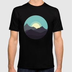 Minimal Mountain Night Black Mens Fitted Tee MEDIUM