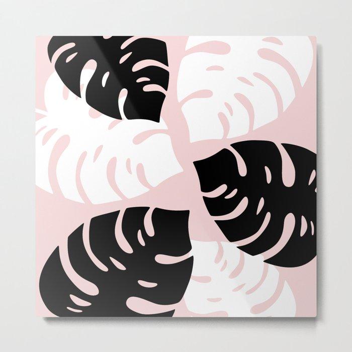 Palm Leaves on Pink Metal Print
