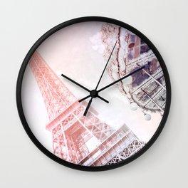Shimmering Pink Paris Memories Wall Clock
